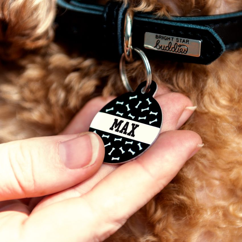 Personalized Dog Tag Merry and Bright ID Tag Name tag for dog Handstamped Pet ID Smashpaw,